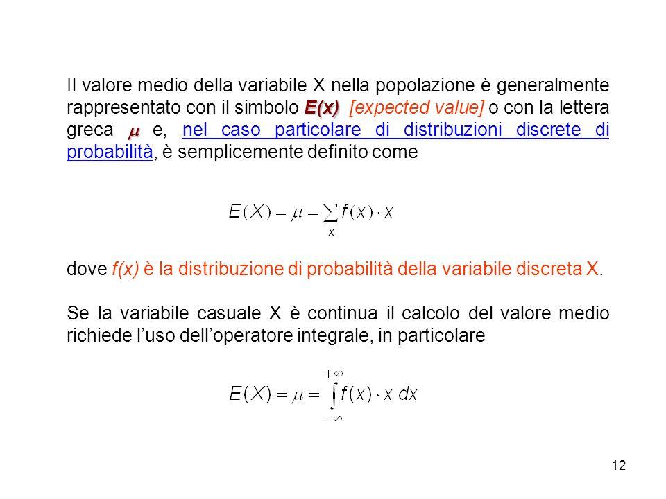 Il valore medio della variabile X nella popolazione è generalmente rappresentato con il simbolo E(x) [expected value] o con la lettera greca  e, nel caso particolare di distribuzioni discrete di probabilità, è semplicemente definito come